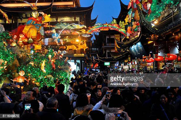 Illuminated models are being displayed during Lantern Festival Yuan Xiao Festival in Chinese in Yuyuan Gardens Shanghai China on February 21 2016...