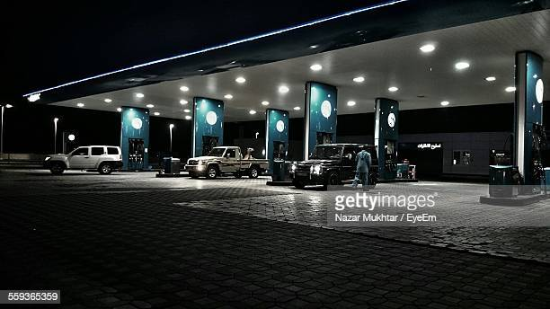 Illuminated Modern Gas Station In Night