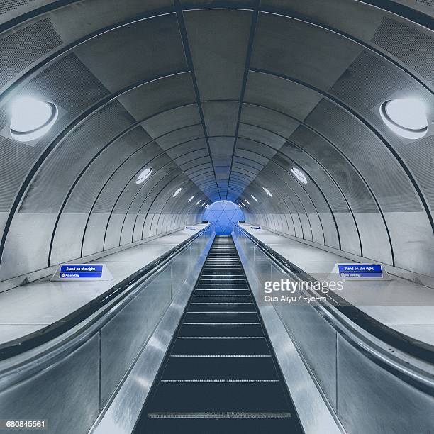 Illuminated Moving Walkway At Southwark Tube Station
