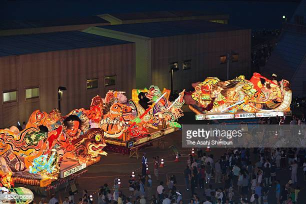 Illuminated 'Nebuta' floats are displayed ahead of the Aomori Nebuta Festival on August 1 2014 in Aomori Japan The festival begins August 2 till...