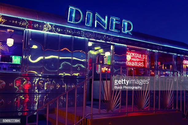 Illuminated neon signs, 11th Street Diner, Miami Beach, Florida, US