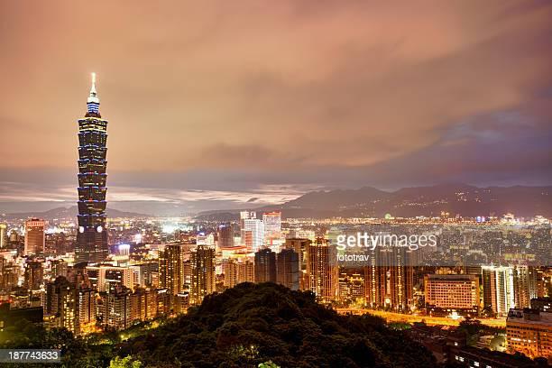 Illuminated night city skyline of Taipei, Taiwan, China