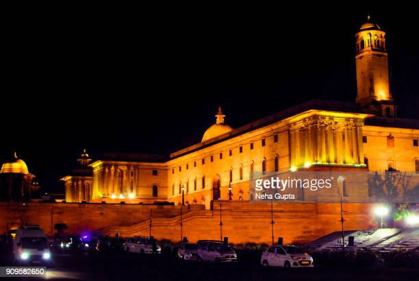 illuminated north block - rashtrapati bhavan - rashtrapati bhavan presidential palace stock pictures, royalty-free photos & images