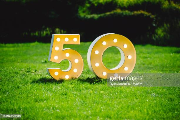 illuminated numbers on grassy field in park - number 50 stock photos and pictures