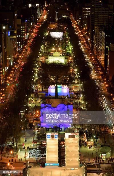Illuminated Odori Park venue of the 66th Sapporo Snow Festival is seen on February 4 2015 in Sapporo Hokkaido Japan The annual snow festival will be...