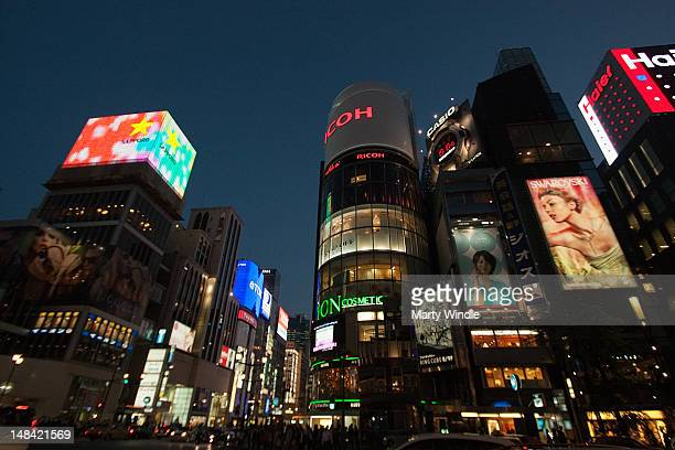 illuminated of cityscape ginza toyko - ginza stock pictures, royalty-free photos & images