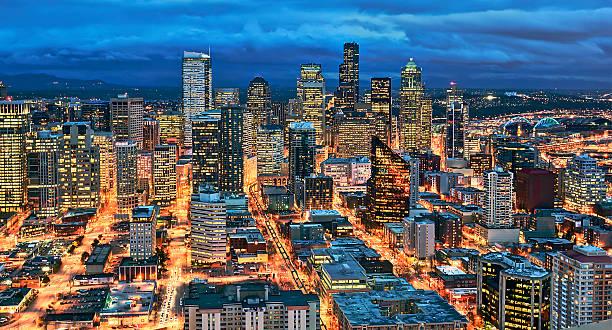 Illuminated Of Downtown Seattle Wall Art