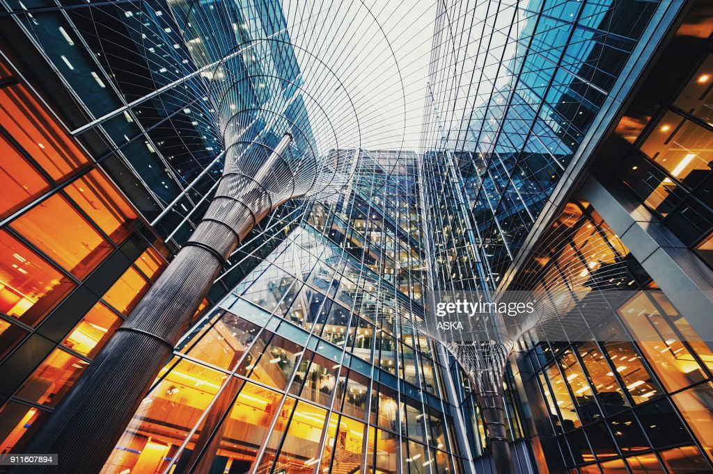 Illuminated office buildings at Canary Wharf, London : Stock Photo