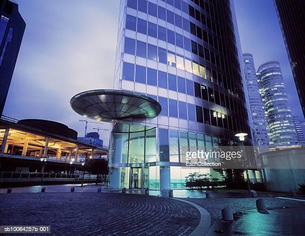 Illuminated office buildings at dusk