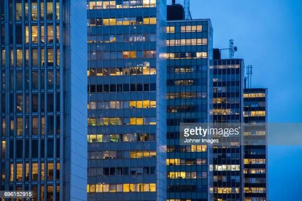 Illuminated office buildings