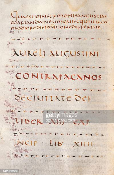Illuminated page from De civitate by Saint Augustine manuscript Italy 6th Century