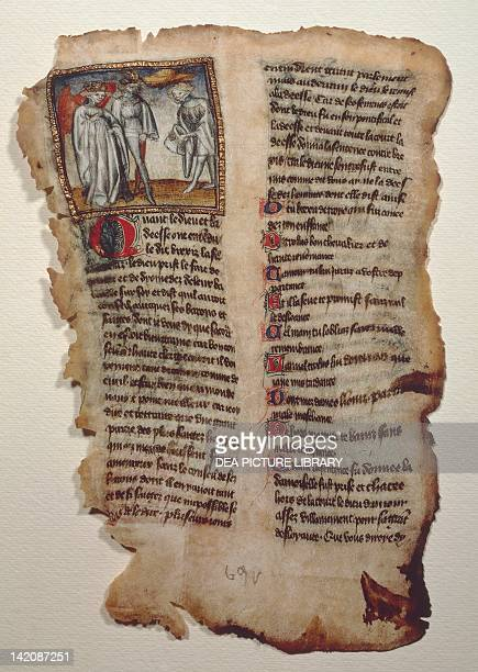 Illuminated page from Le chevalier errant medieval chivalry text by the Marquis of Saluzzo Tommaso III the Vast manuscript Italy 14th Century