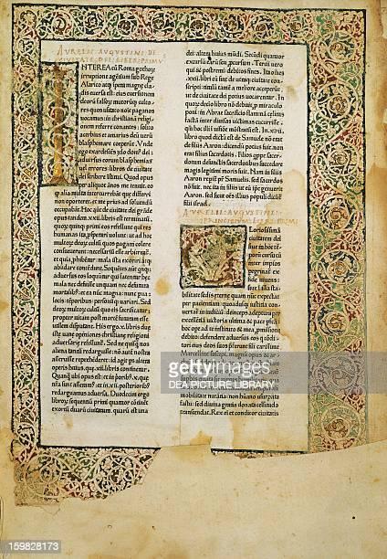 Illuminated page of the De civitate dei by Augustine of Hippo Treviso Biblioteca Comunale