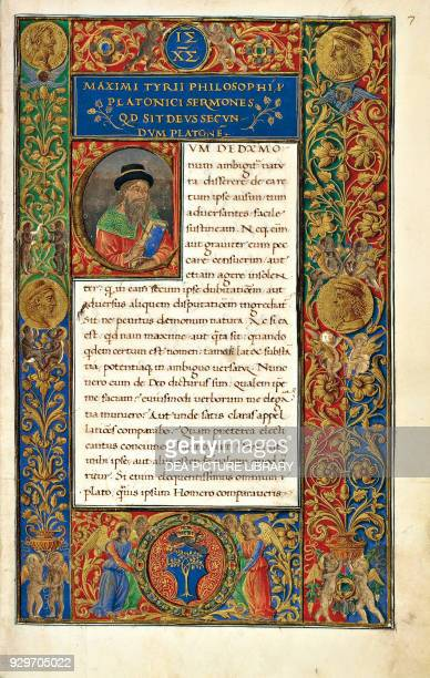 Illuminated page with an initial letter depicting Plato medieval manuscript by Maximus of Tyre