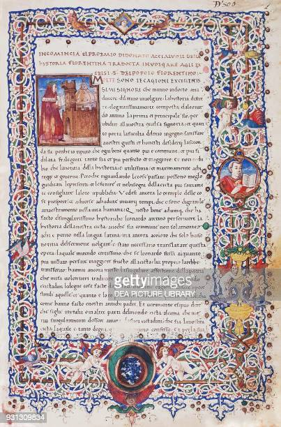 Illuminated page with drop cap letter depicting Leonardo Bruni wearing a Florentine costume and laurel crown with the city of Florence and the dome...
