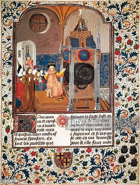 Illuminated page with King Solomon miniature from the Book of the Clock of Wisdom by Jehan de Souhande Velin 15th Century