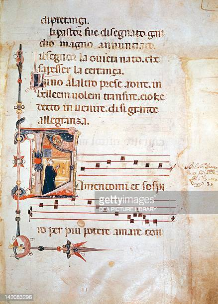 Illuminated pages from Lauda by Jacopone of Todi manuscript 8th Century
