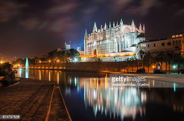 illuminated palma cathedral by river against sky at night - palma majorca stock photos and pictures