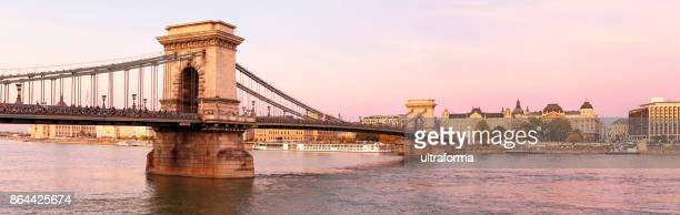 illuminated panoramic view of szechenyi chain bridge and st stephen's basilica in budapest in a pink twilight - budapest stock pictures, royalty-free photos & images