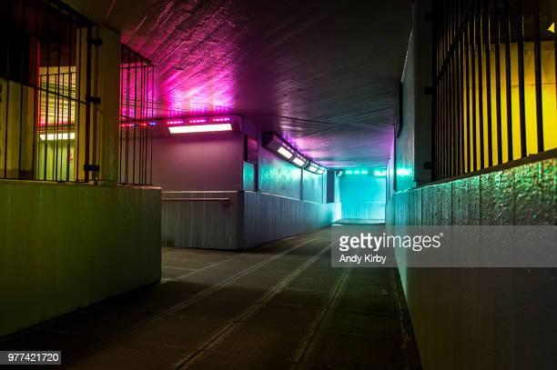 Illuminated passage, London, England, UK