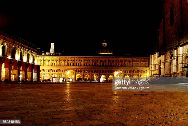 Illuminated Piazza Maggiore At Night