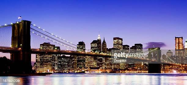 illuminated portrait of the Brooklyn Bridge in New York