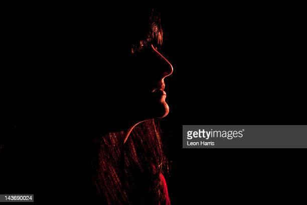 Illuminated profile of womans face