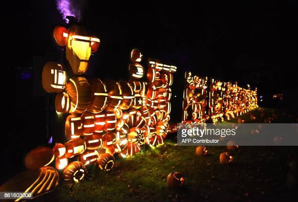 Illuminated pumpkins in the shape of a train are on display during the Great Jack O'Lantern Blaze at Van Cortlandt Manor in CrotononHudson New York...