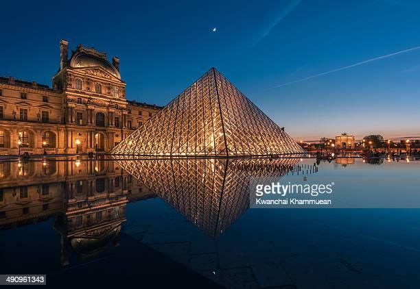 Illuminated pyramid at the Louvre at night.