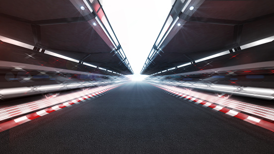 illuminated race track with shiny lights and motion blur 1062436016