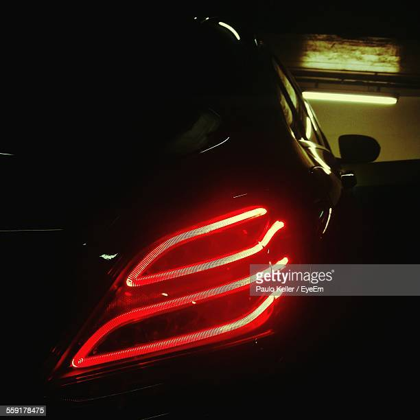 Illuminated Red Tail Light Of Car