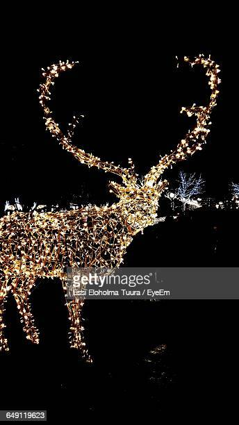 illuminated reindeer sculpture at night during christmas - antler stock pictures, royalty-free photos & images
