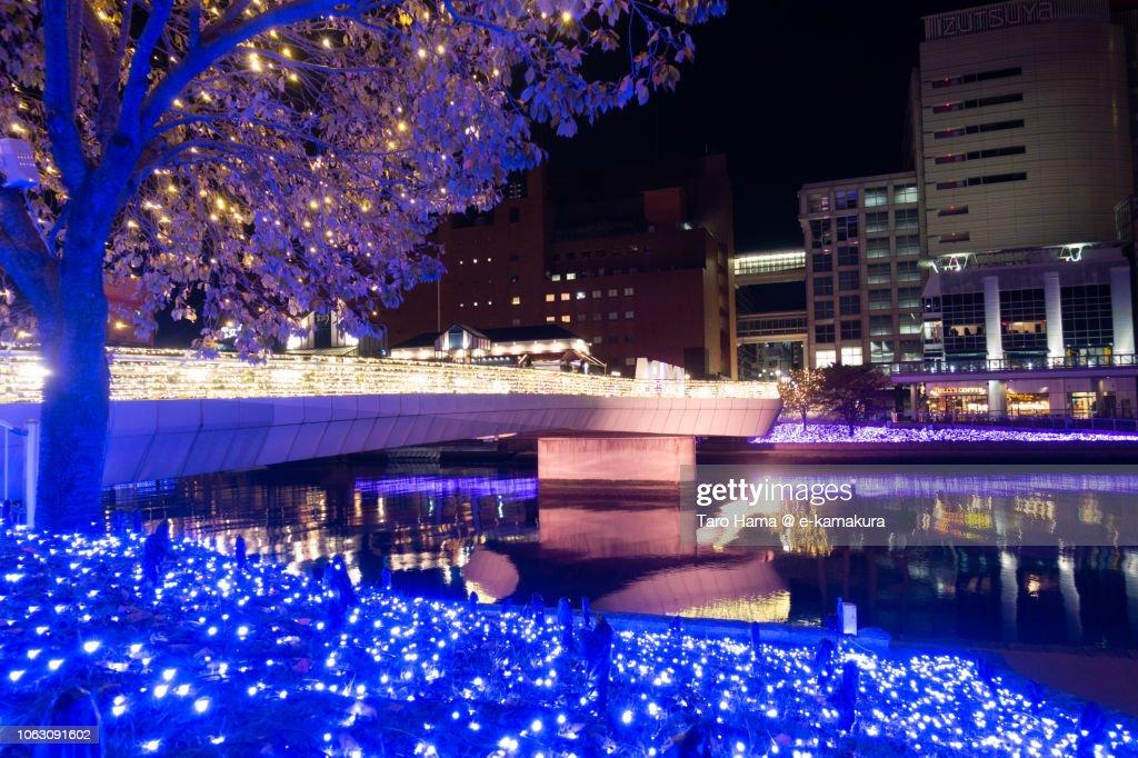 Illuminated riverside in Kokura area of Kitakyushu city in Fukuoka prefecture in Japan : ストックフォト