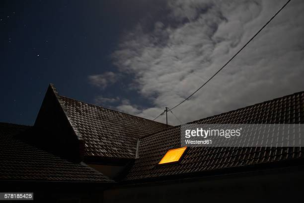 Illuminated roof window at night