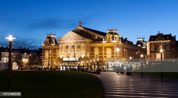 illuminated royal concertgebouw amsterdam - music halls stock pictures, royalty-free photos & images