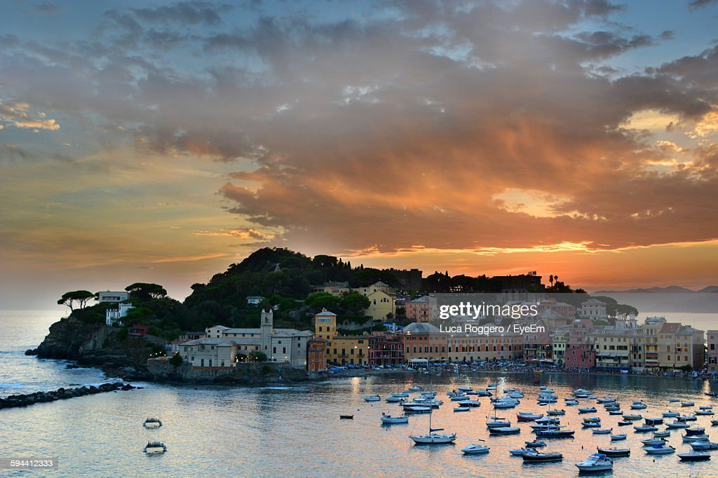 Illuminated Sestri Levante By Sea During Sunset : Stock Photo