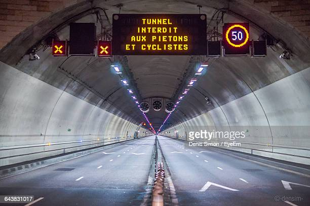 Illuminated Sign Board In Tunnel