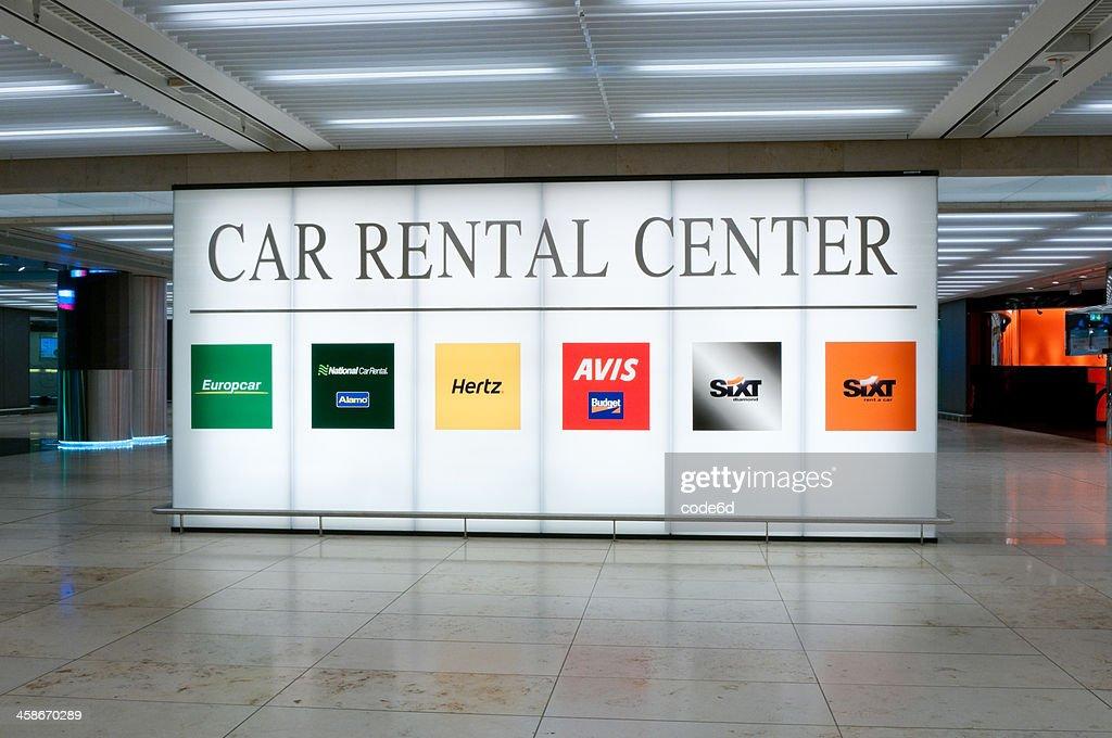 Illuminated Sign Of The Car Rental Center At Frankfurt Airport Stock