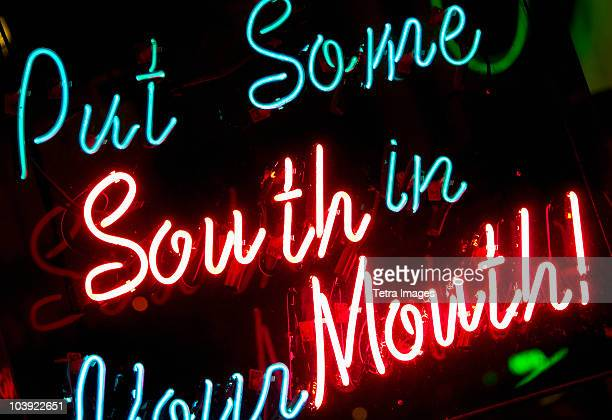 Illuminated sign on Beale Street in Memphis
