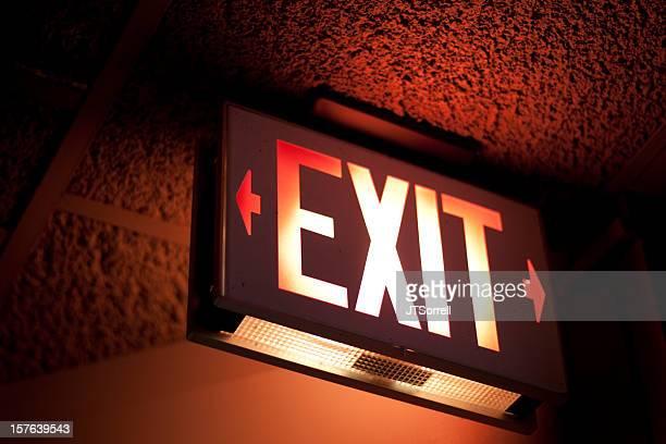 照明付き、出口のサイン