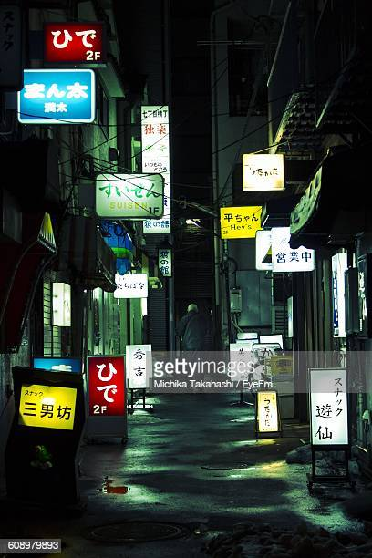 illuminated signs at alley in city during night - 路地 ストックフォトと画像