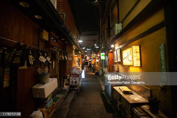 illuminated signs of restaurant and shops at night - alley stock pictures, royalty-free photos & images