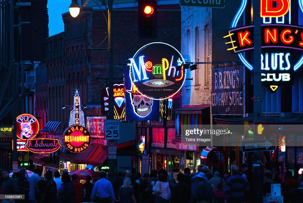 Illuminated signs on Beale Street in Memphis : Stock Photo