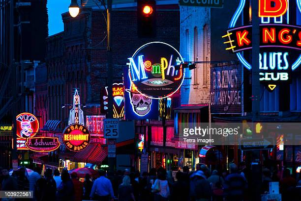 illuminated signs on beale street in memphis - テネシー州 ストックフォトと画像