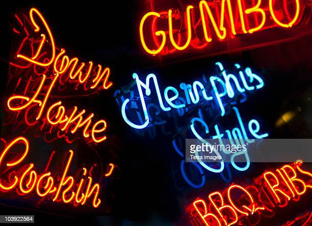 illuminated signs on beale street in memphis - memphis stock photos and pictures