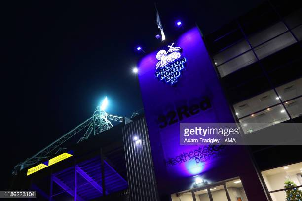Illuminated signs on the exterior of Deepdale the home stadium of Preston North End during the Sky Bet Championship match between Preston North End...