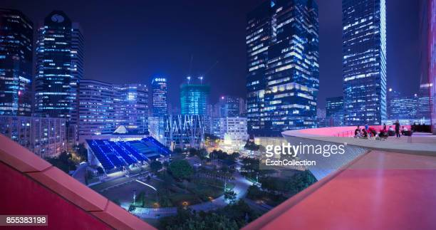 Illuminated skyline Kowloon Bay area of Hong Kong