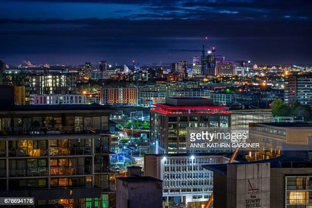 Illuminated skyline of Manchester