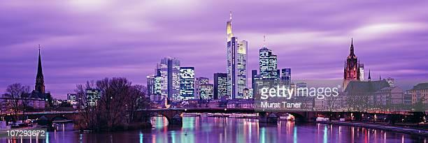 Illuminated skyline view of a city