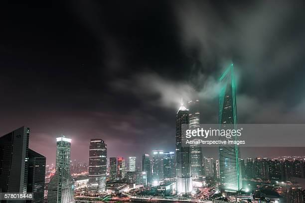 Illuminated Skyscrapers in Shanghai at night